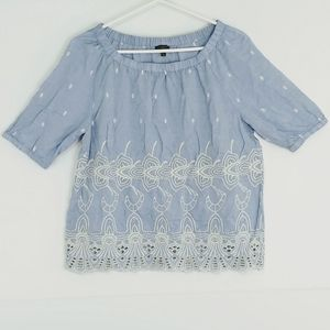 Talbots embroidered blue top